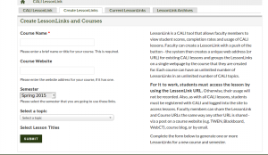 The new LessonLink create form.